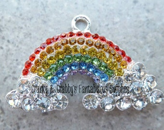 Rainbow and Clouds Rhinestone Pendant -  25mm x 40mm - Silver  -
