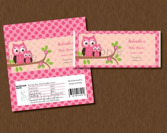 Candy Bar WRAPPERS - Instant Download - Pink Damask Owl Printable Personalized Baby Shower Birthday Party Favors