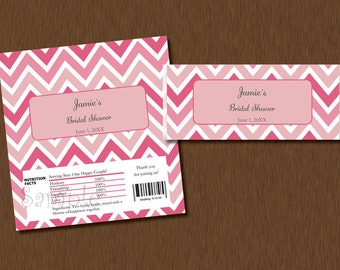 Candy Bar WRAPPERS - Instant Download - pink Chevron Printable Personalized Bridal Baby Shower Birthday Party Favors