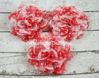 """Clearance Red Polka Dot Chiffon and Lace Flower - 4"""" Full and Fluffy - 4 inches Large - Red and White Dot"""