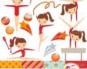 Little Girl Gymnasts Clip Art Set Cliparts Cute girls Red dress rhythmic gymnastic acrobatic Sport ribbon elements Digital Papers pf00064-1