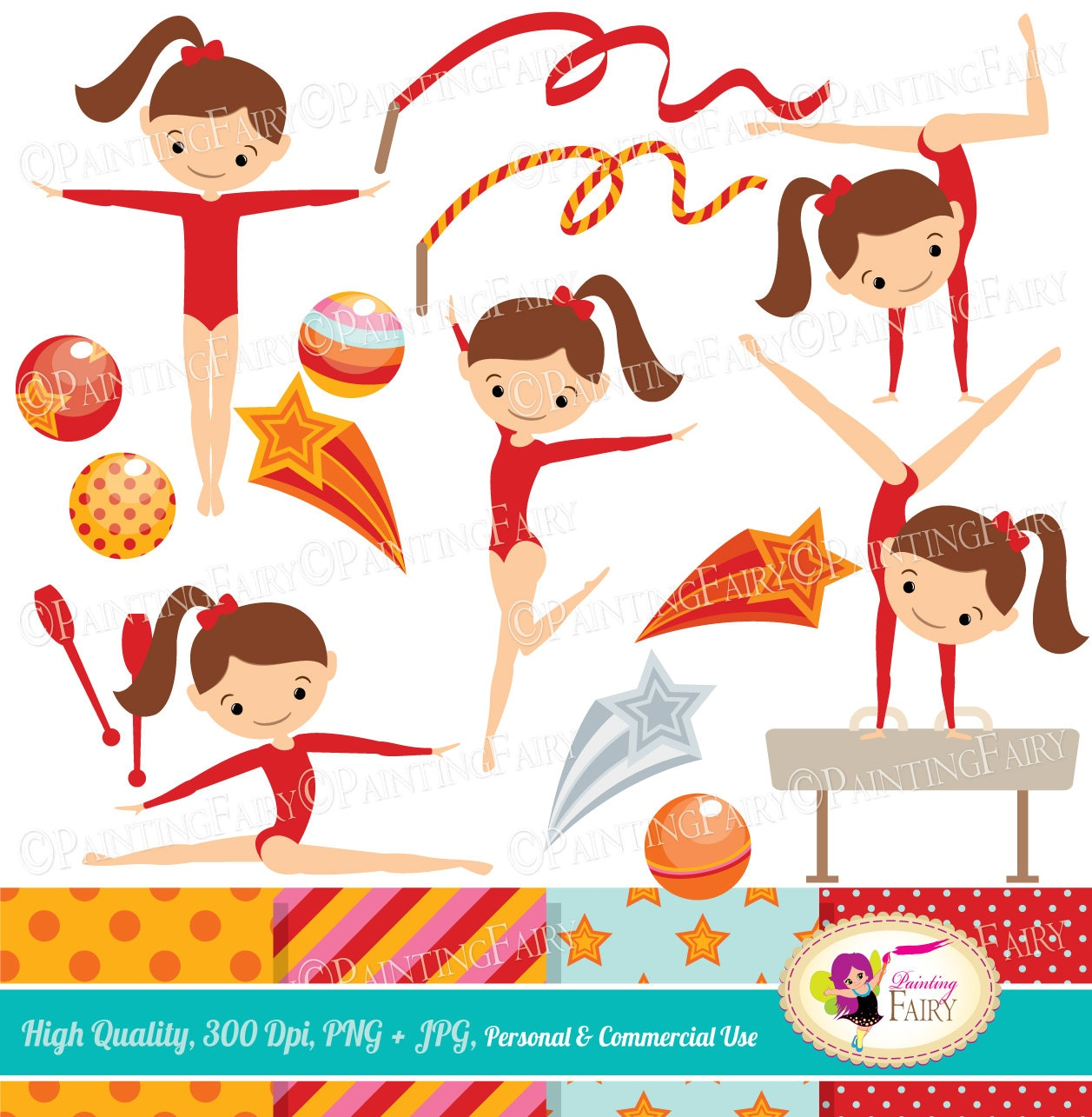 Little Girl Gymnasts Clip Art Set Cliparts Cute Girls Red