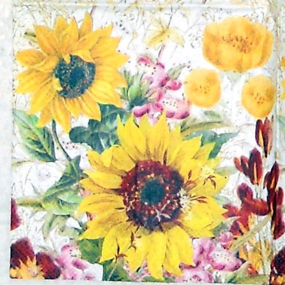 Paper Napkin Sunflower Garden Yellow And Red By