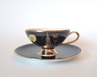 Vintage China Black and Gold German Mid Century Modern Teacup C.M. Hutschenreuther  - Souvenir from Danube Ulm Cathedral - Germany