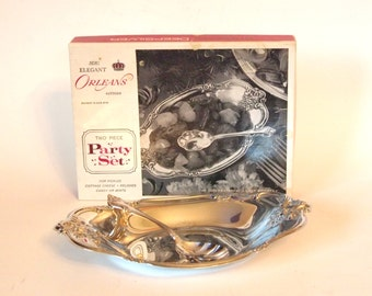 Vintage Silver Serving Tray Bowl International Silver Party Set - Silver Tray with Spoon in Original Box - Circa 1960's Mid Century