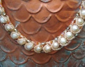 "Seaside Peach, Ivory, Pink, Platinum, Topaz, Fresh Water Potato Pearls Flat Spiral Necklace: ""Amelia"" Collection"