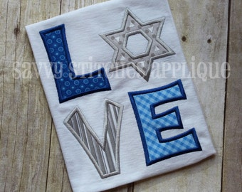 Love Star Of David Hanukkah Machine Embroidery Applique Design