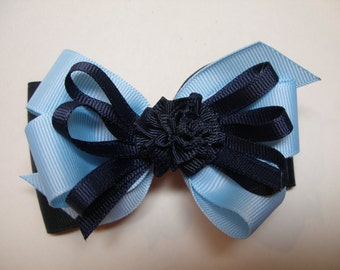 Back to School  Dark NAVY Blue & Baby Blue  Hair Bow Unique Boutique Toddler Girl School Uniform Nautical