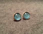 Cerulean Skies -  Hand Painted 12mm Glitter Stud Earrings