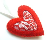 Heart ornament with lace - felt ornaments - Valentine's day/Birthday/Christmas/Baby/It's a Girl/Housewarming home decor - grabacoffee