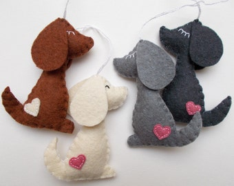 Felt dog ornament - handmande felt ornaments - puppy - Housewarming holiday decor - Baby shower toys - Christmas gift for dog-lovers