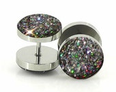 Silver Holographic  Fake Double Sided Plugs - 18g Fake 7mm,12mm,14mm