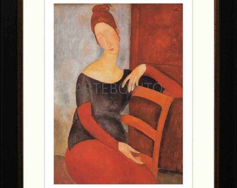 Amedeo Modigliani, Framed Giclees, 'Portrait of J. Hebuterne on red chair'.