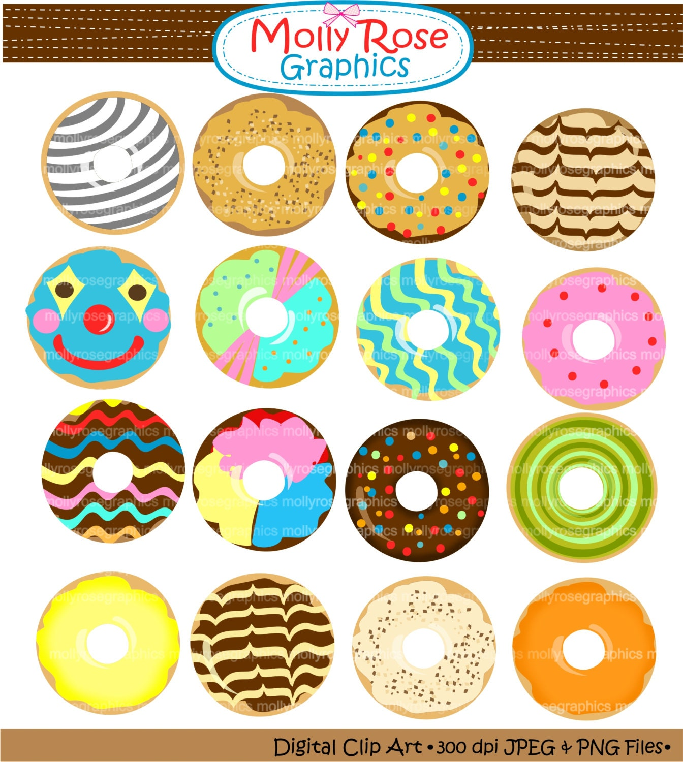 Digital Clip Art donut yummy donut donuts by mollyrosegraphics