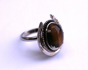 Tiger's Eye Horse Shoe Ring Adjustable Silver Tone Vintage