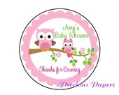 "20 - 2"" round Personalized PRINTED pink owl baby shower sticker pink owl baby shower favor stickers"