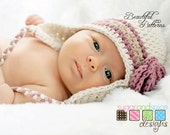 Crochet Hat Pattern Photo Prop Baby Girl Earflap Beanie Hat Star Stitch Rose Earflap PDF 230 Newborn to Preteen Instant Download