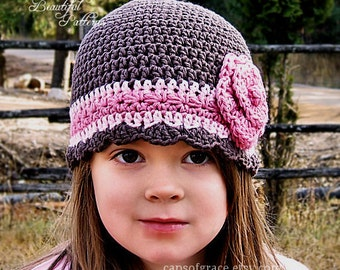 Crochet Hat Pattern Girl Flapper Beanie with Rose PDF 100 Newborn to Adult Photography Prop Instant Download