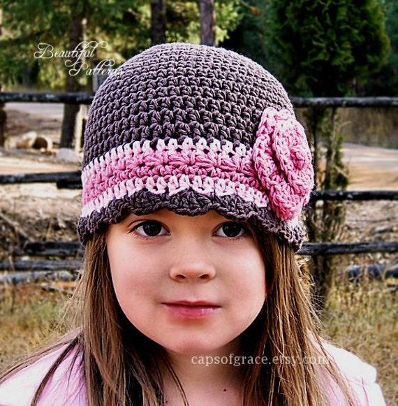 Crochet Pattern Hat Girl : Crochet Hat Pattern Girl Flapper Beanie with by ...
