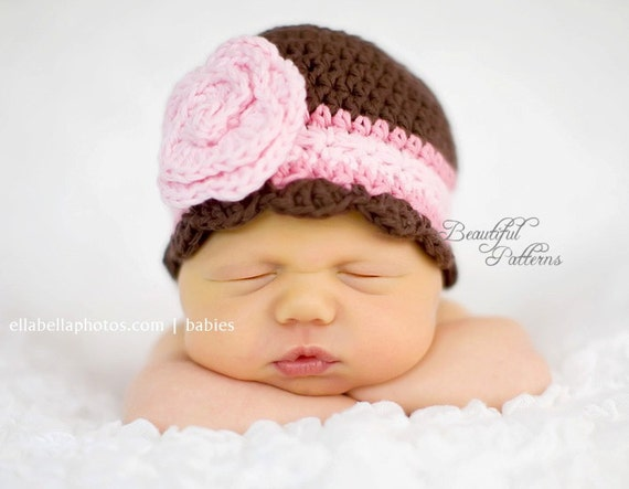 Crochet Hat Pattern Baby Girl Crochet Hat Flapper Beanie with Rose Flower PDF 100 Newborn to Adult  Photo Prop Instant Download