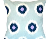 Two Decorative Throw Pillow Covers Blue Pillows Accent Pillows 18 x 18 Inches Blue and Purple Ikat Dots Thoss Pillows