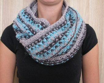 Knitted gray  blue woman infinity scarf