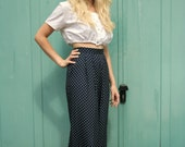 Vintage Polka Dot Summer Flare Trousers - Size 6