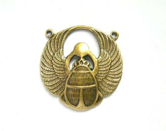 1 Antique Brass Egyptian Scarab Connector - 2-IN-7