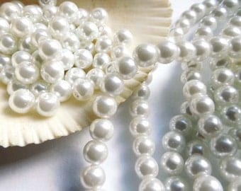 40 White Glass Pearl Beads - 25-4
