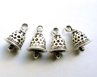 4 Antique Silver Bell Charms - 27-10