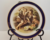 Echt Cobalt Inglasur Collector's Plate - Older Golden Crown E&R Marking - Two Boys Eating Pie