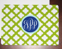 Set of 12, Lime Green and White Clover, Monogram Note Cards and Envelopes