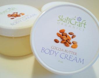 Natural Cocoa Butter Body Butter / Chocolate Body Cream Moisturizing Body Lotion - Organic Cocoa Butter - Coconut & Jojoba Oils  4 oz.