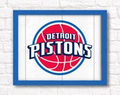"""DETROIT PISTONS home decor - Boys room or man cave rustic 16""""x20"""" handmade sign - Detroit Pistons wall sign"""