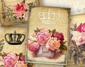 Digital Collage Sheet - Greeting Cards - Instant Download - Digital Backgrounds - Jewelry Holders - Paper Craft - NICE VINTAGE ART