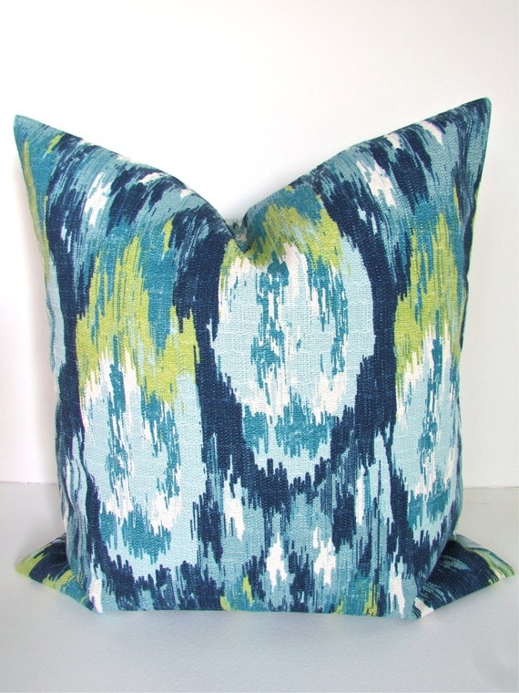 Modern Teal Decorative Throw Pillow : Items similar to PILLOWS Blue Decorative Throw Pillows 20x20 Navy Blue Pillow Cover Teal Green ...