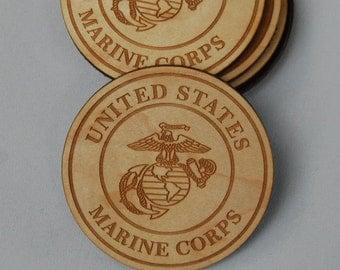 Set of 6 US Marine Corps Engraved Wood Coasters