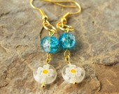 White Yellow Flower Millefiori Drop Bead Earrings with Blue Crackle Glass