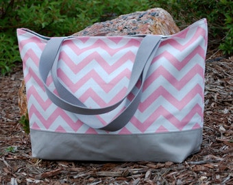 Pink Chevron with Gray Canvas Tote Bag