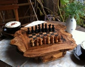 Unique Olive Wood Natural Edges Chess Set, Wooden Chess Board Set Game, Dad gift, Father's Day Gift expedite shipping 6-10 working days