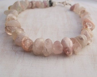 Vintage Morganite Gemstone Necklace with Silver clasp, chunky jewellery