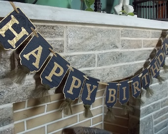 Happy Birthday Banner in Black and Gold, Birthday Party Banner, Embossed Banner with Tulle in Black and Antique Gold