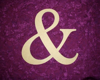 "Unfinished Wood Letter & Ampersand Symbol Wooden Letters 12"" Inch Tall Paintable MDF"