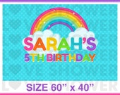 RAINBOW Party Backdrop - Personalized - Digital - Printable - Dessert Table Backdrop - Photo Background - PDF R123