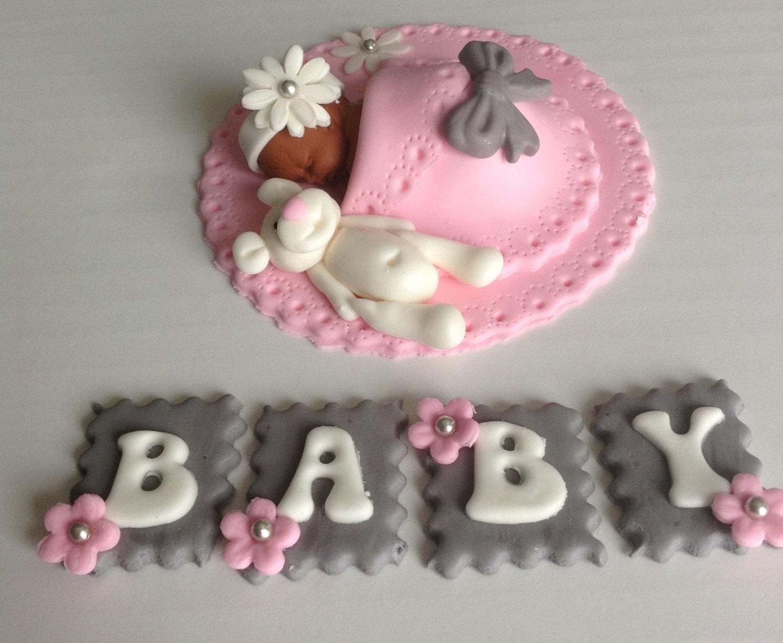 BABY SHOWER CAKE Topper Fondant Cake Topper Baby Girl