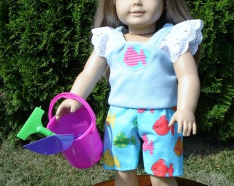 18 Inch Doll Clothes - Colorful Fish Shorts Outfit with Sand Toys made by Jane Ellen to fit 18 inch dolls