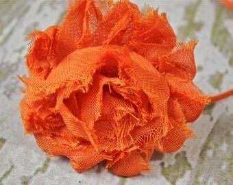 Orange or Burnt Orange Shabby Chic Flower on a Matching Skinny Headband for Newborn Photo Shoot, Newborn Headband, Infant Headband