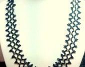 Black Bead Necklace Jewelry - Bead Weaving Jewelry - Wedding Jewelry for Brides - Black Bridal Necklace - Bead Weaving Necklace