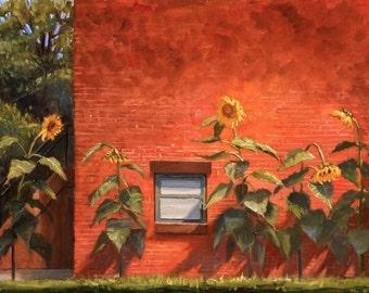 City Sunflowers, print of original oil painting