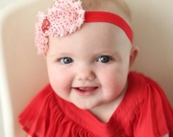 White With Red Polka Dots Shabby Chiffon Flower Headband, Girl Headband, Baby Girl Headband, Infant Girl Headband, Newborn Girl Headband